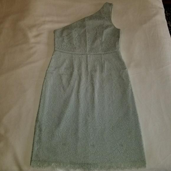 J. Crew Dresses & Skirts - J. Crew Sage Green One Shoulder Lace Dress Size 12